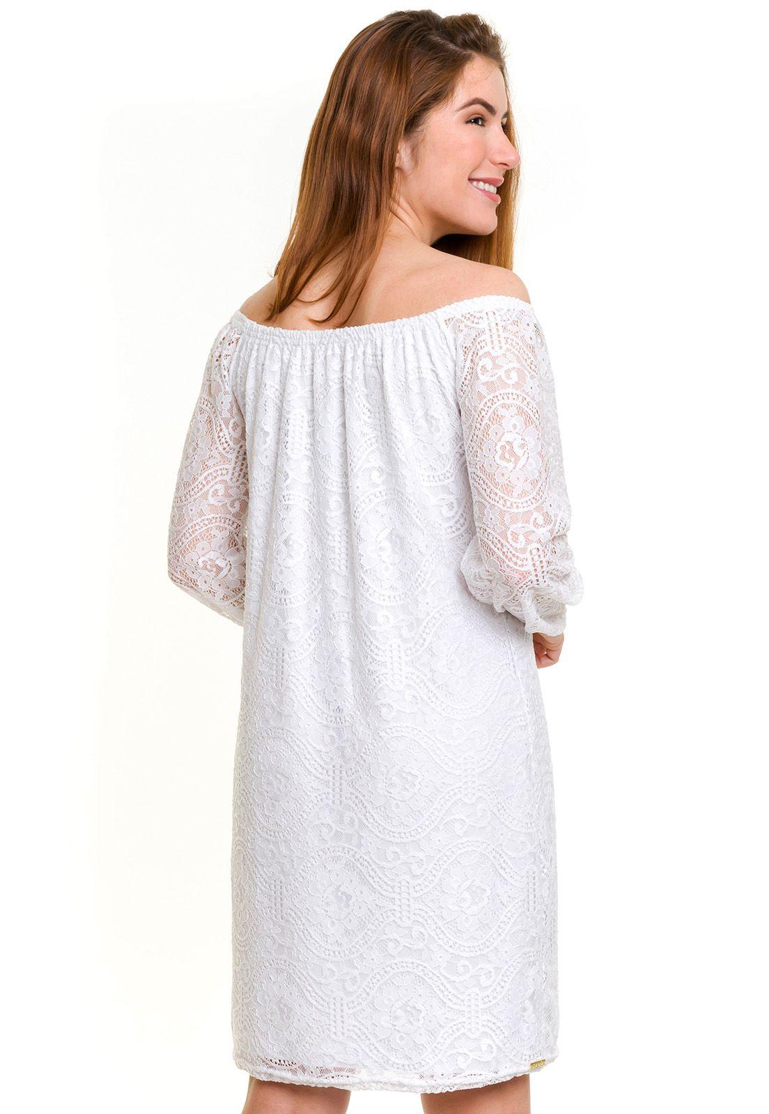 Vestido Ombro a Ombro Renda Branco