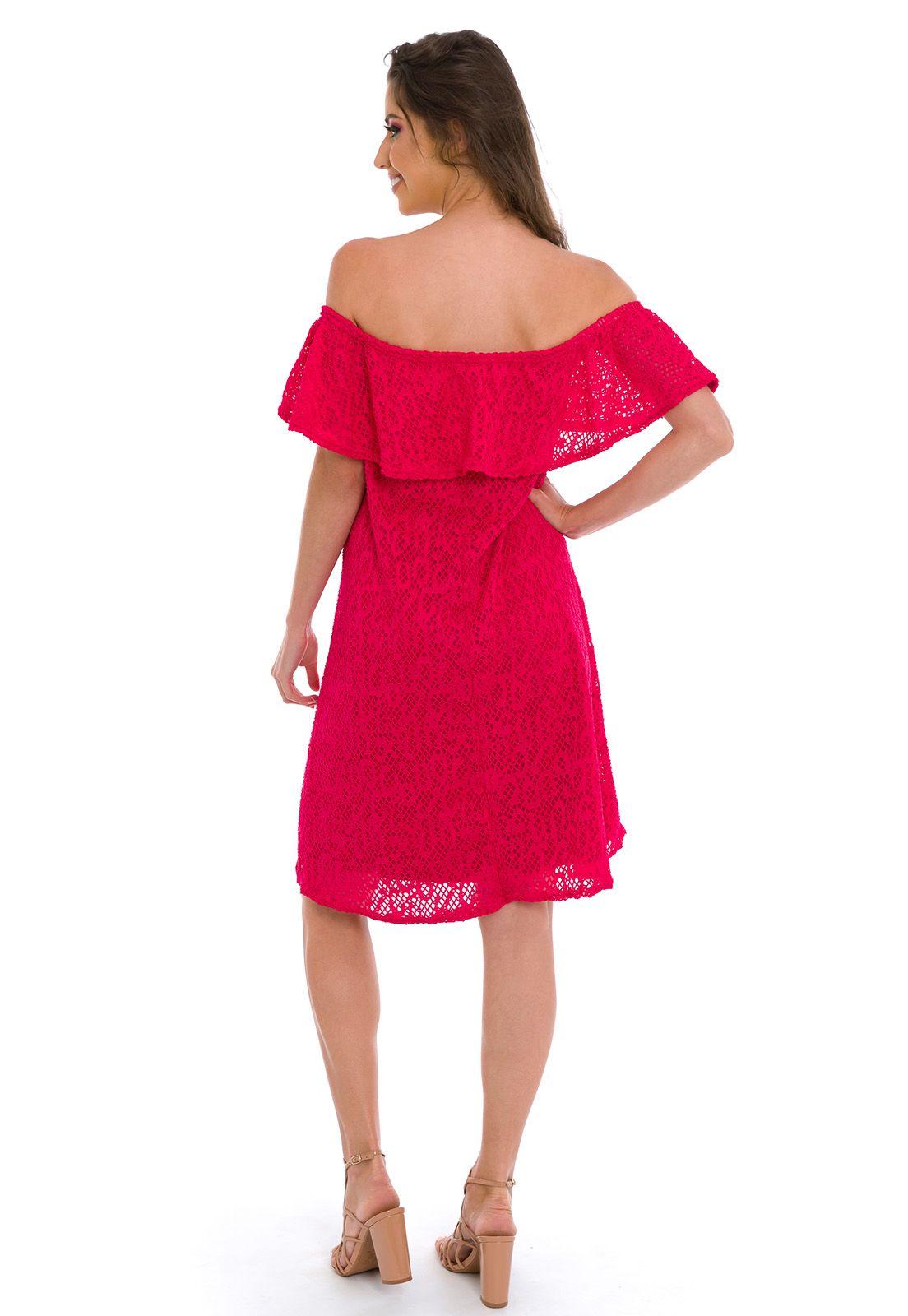 Vestido Ombro a Ombro Rosa Pink