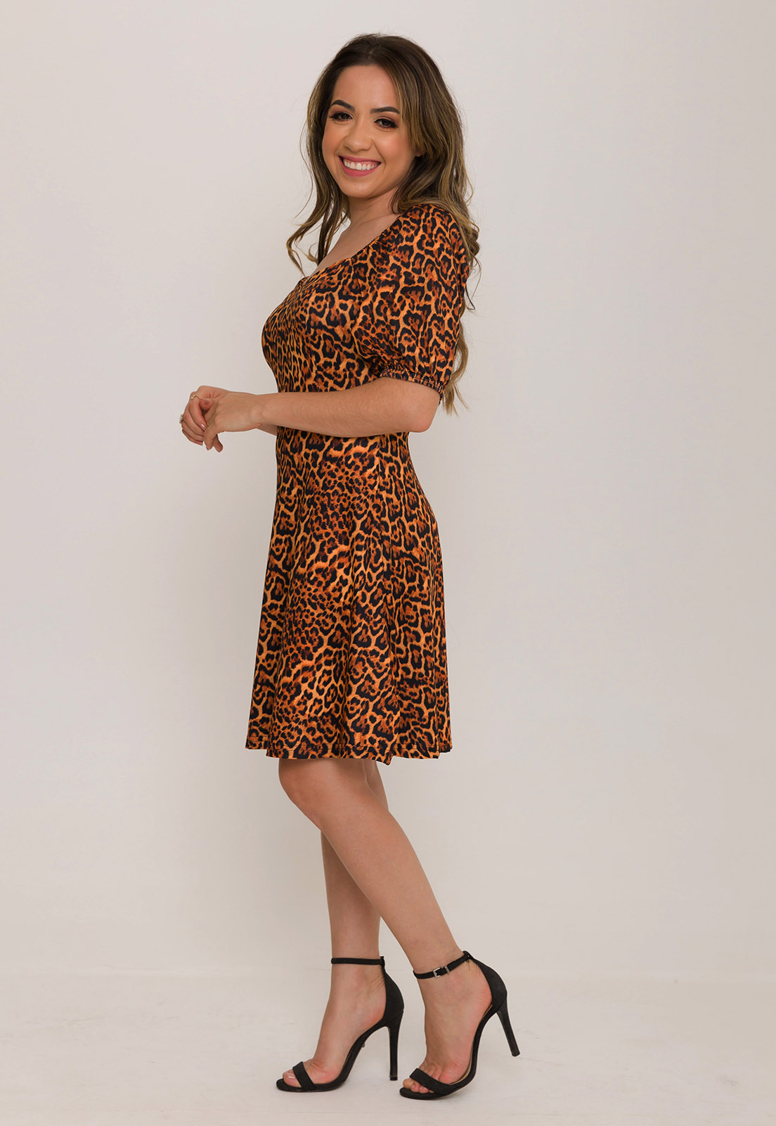 Vestido Decote Princesa Animal Print
