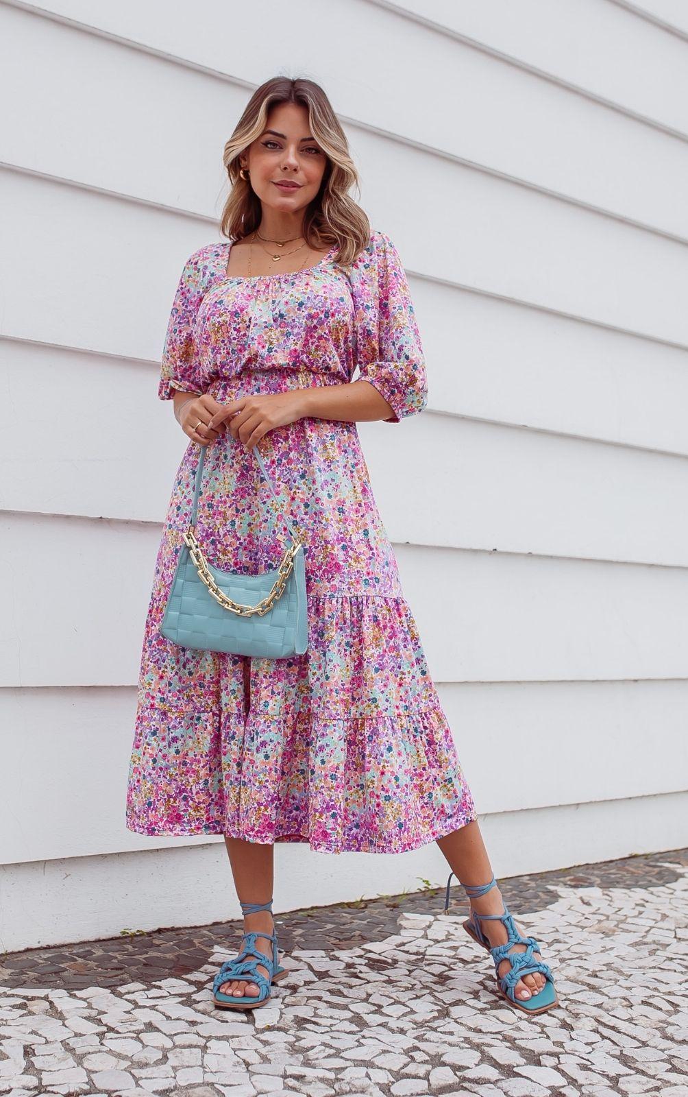 Vestido Princesa Midi Estampado Floral Colorido Candy
