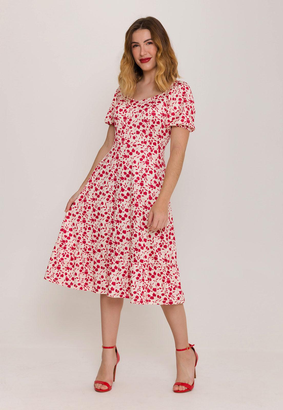 Vestido Princesa Midi Estampado Off Floral