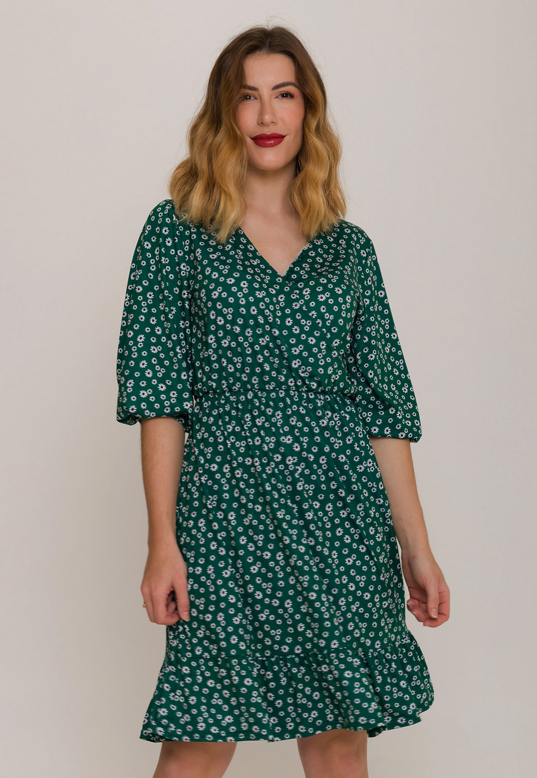 Vestido Transpassado Floral Verde