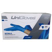 Luvas Unigloves Nitrílicas Cor Azul - Tamanho M - 100 unidades