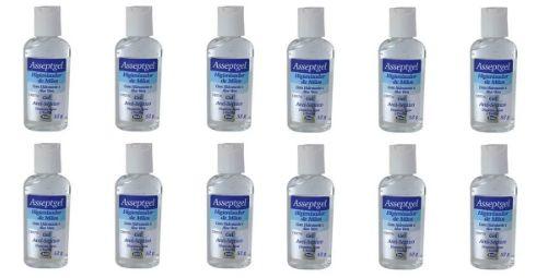 Álcool Gel Asseptgel Cristal Aloe Vera Start 70% 52G - Kit com 12