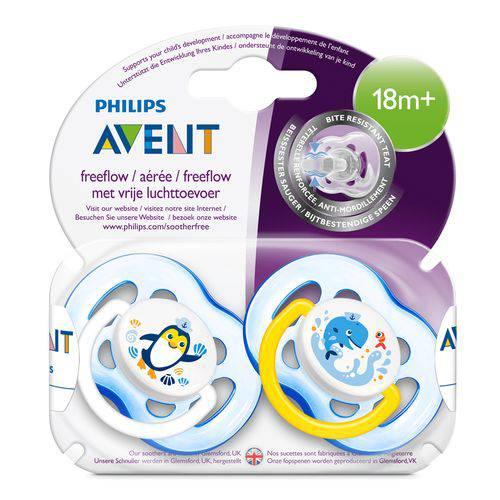 Chupeta freeflow 18 meses azul Philips Avent - 2 unidades