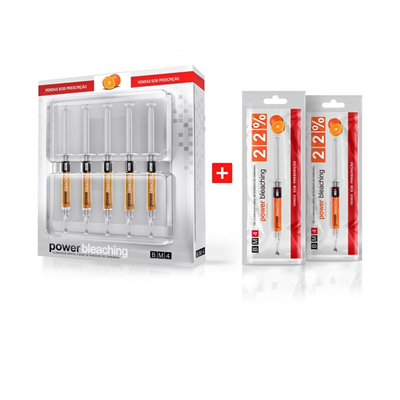 Clareador Dental Power Bleaching 22% Laranja BM4 - Kit com 7 Seringas
