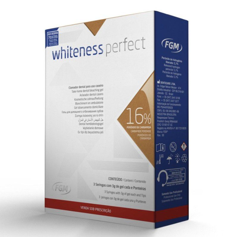 Clareador Dental Whiteness Perfect 16% FGM - Mini Kit com 3 unidades + Par de Moldeira - Technew