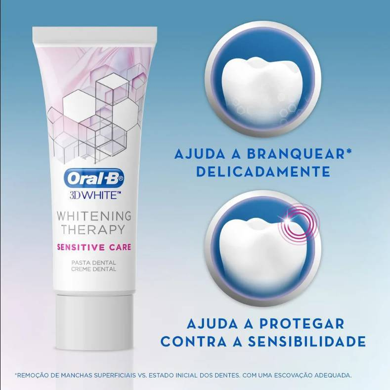 Creme Dental 3D Whitening Therapy Sensitive Care 90g - Oral-B