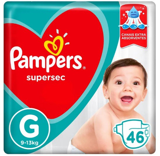 Fralda Supersec Pampers G 9-13kg - 46 Fraldas