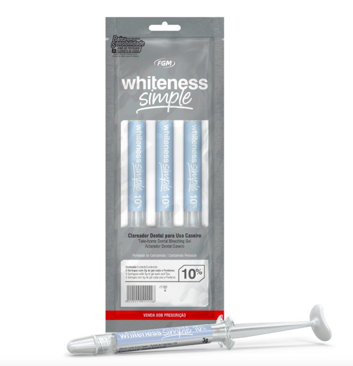 Clareador Dental White Simple 10% FGM - 3 unidades