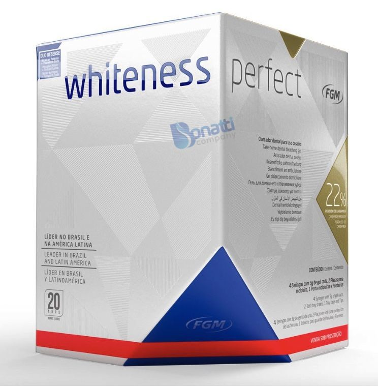 Kit Clareador Dental Whiteness Perfect 22% - FGM + Par de Moldeira