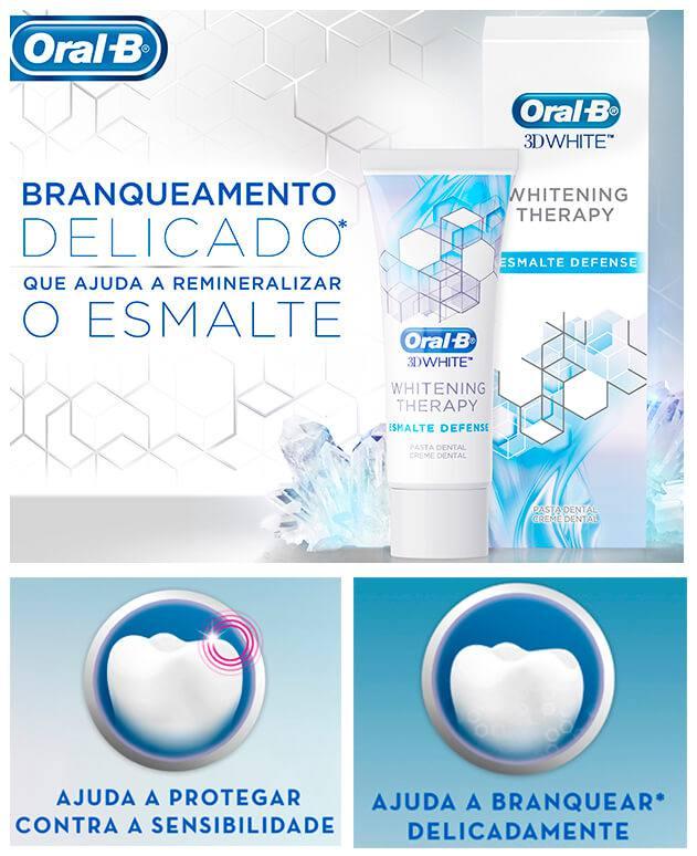 Creme Dental 3D Whitening Esmalte Defense Oral-B - 8 unidades