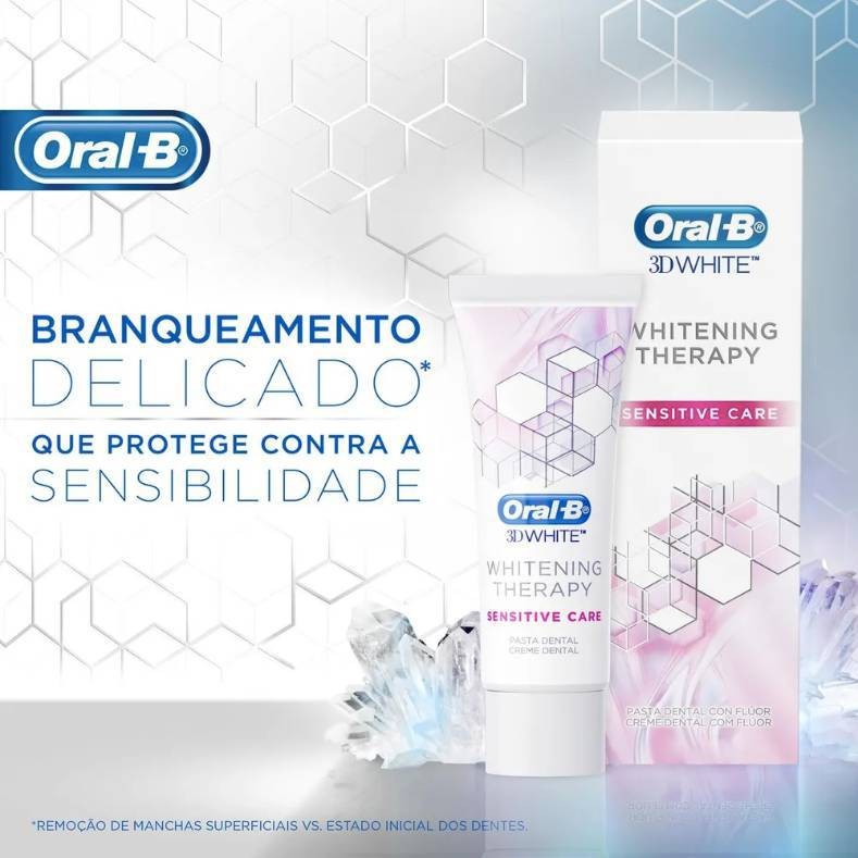 Creme Dental 3D Whitening Therapy Sensitive Care Oral-B - 6 unidades