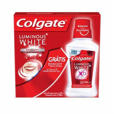 Kit Creme Dental Branqueador Luminous Brilliant White - Colgate