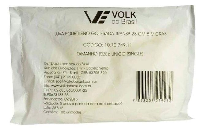 Luva Plástica Volk - Golfrada Transparente Descartável - 28cm 8 Micras – 100 Unidades