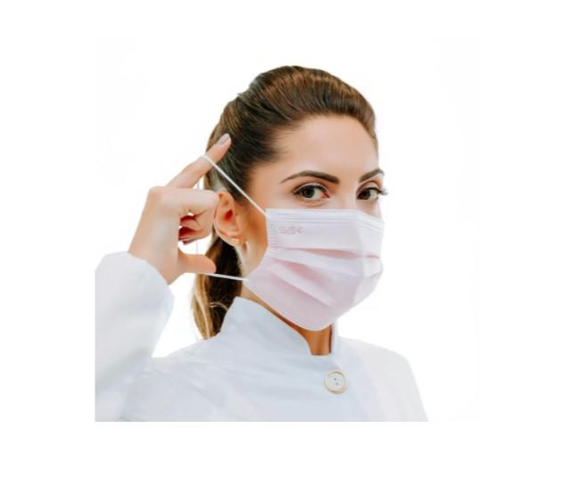 Máscara Descartável com Elástico com 50un Rosa - Sprotection