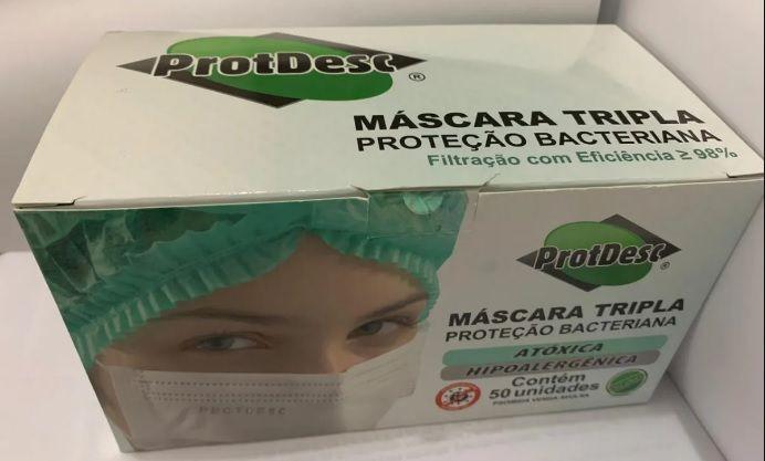 Máscara Tripla Descartável com elástico azul ProtDesc - 50 unidades