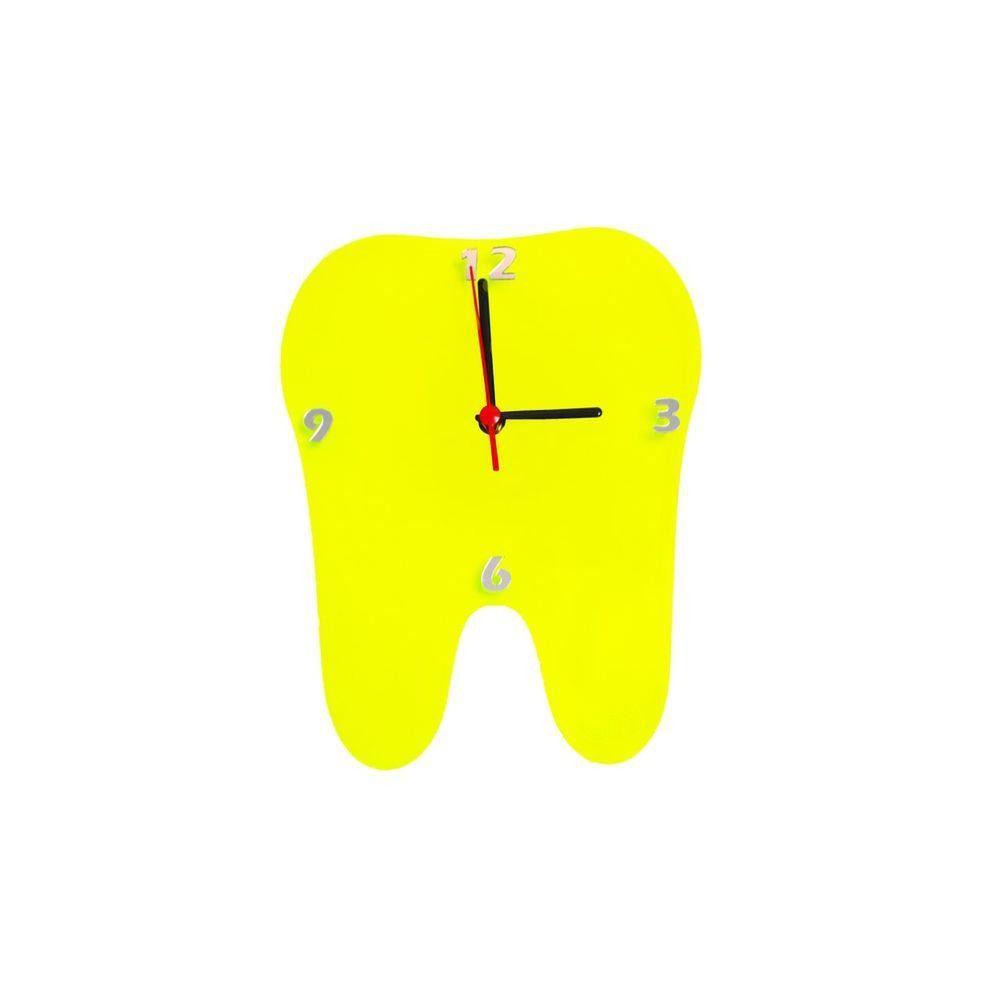 Relógio Decorativo de Parede Odonto Kids Dente Agir - Amarelo Transparente