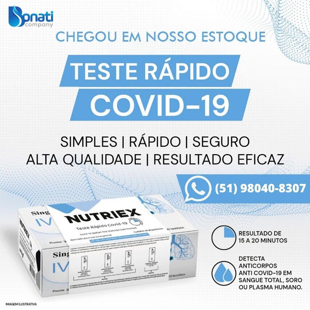 Teste rápido para COVID19 - Nutriex - Kit com 20