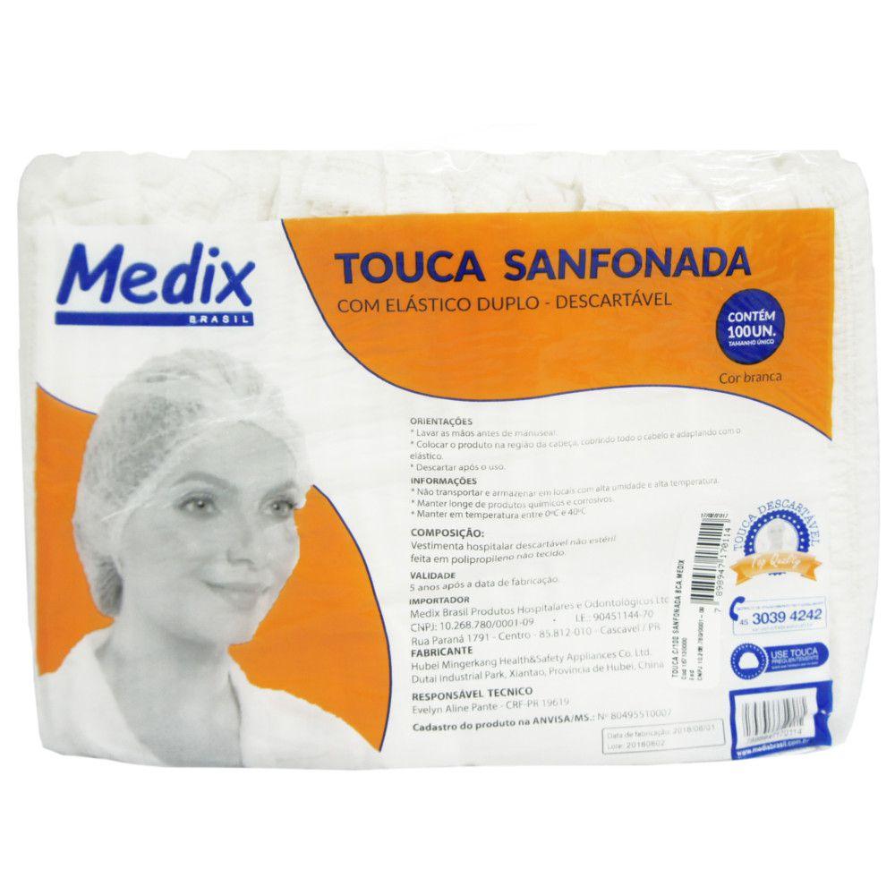 Touca Sanfonada Branca Medix - 100 unidades