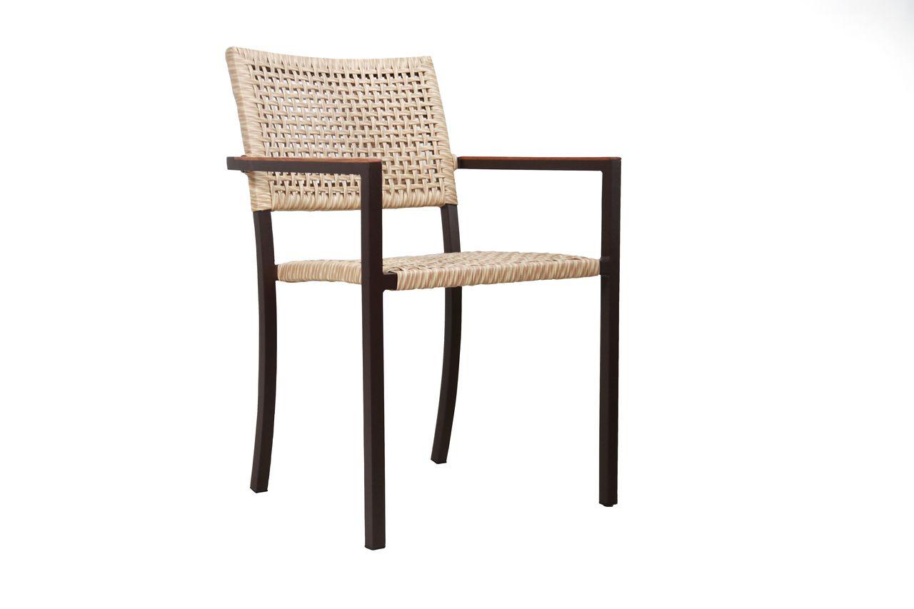 Cadeira Denver Junco com Braço de Madeira