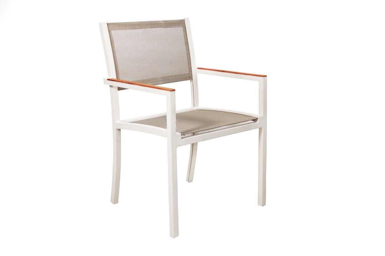 Cadeira Denver Tela com Braço de Madeira