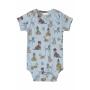 Body Manga Curta em Suedine Cachorrinhos Azul - Up Baby