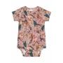 Body Manga Curta em Suedine Digital Floresta Rosa - Up Baby