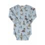Body Manga Longa em Suedine Cachorrinhos Azul - Up Baby