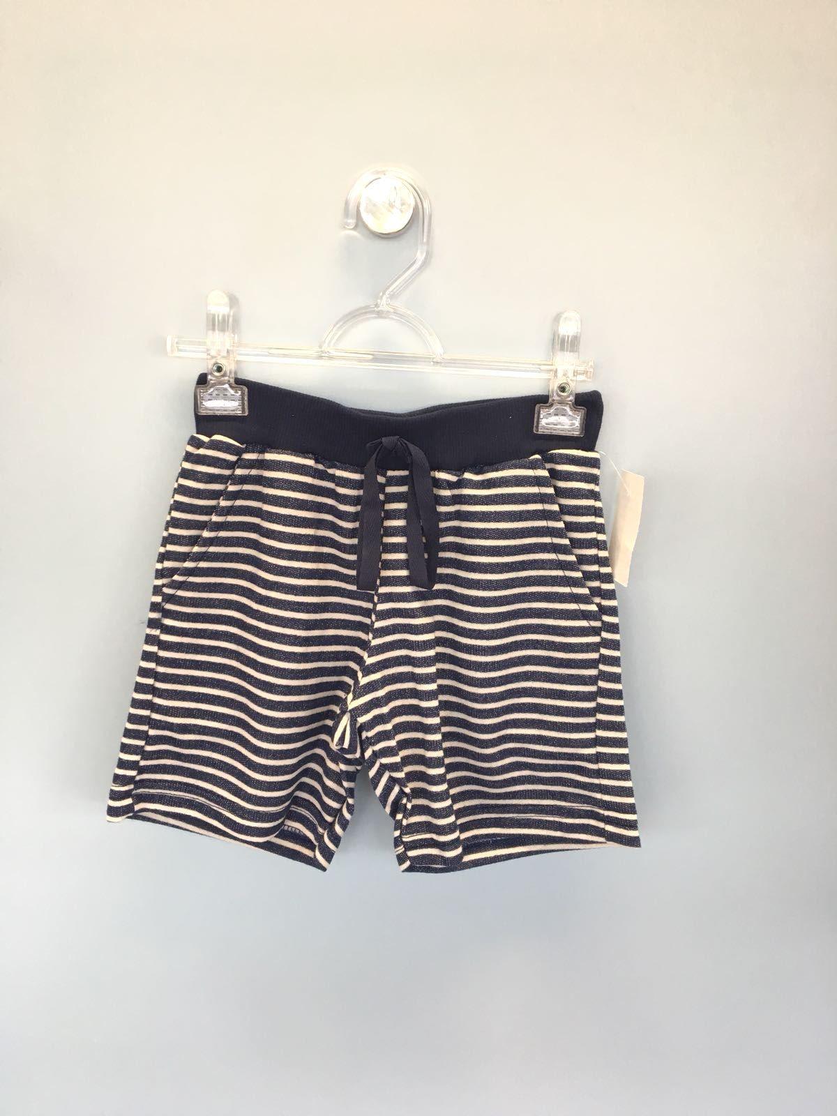 Bermuda Listrada Moletinho Jeans