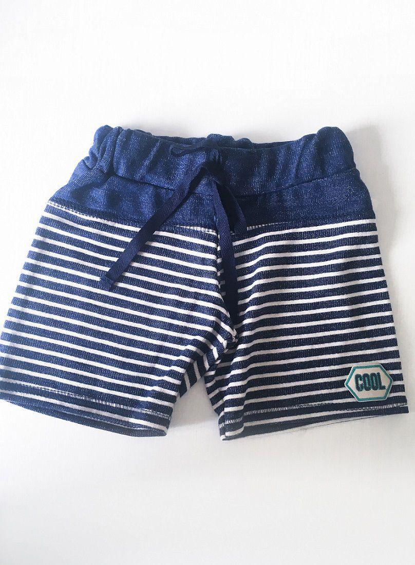 Bermuda Listrada Moletinho Jeans (Cool)