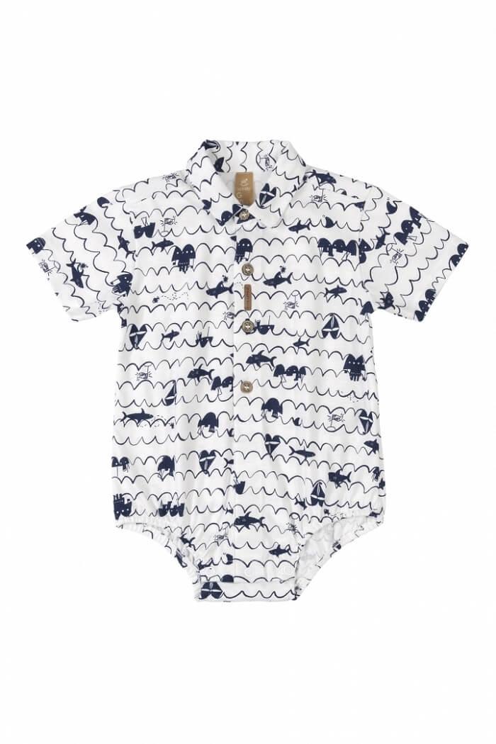 Body Camisa Manga Curta em Meia Malha Navy Branco - Up Baby