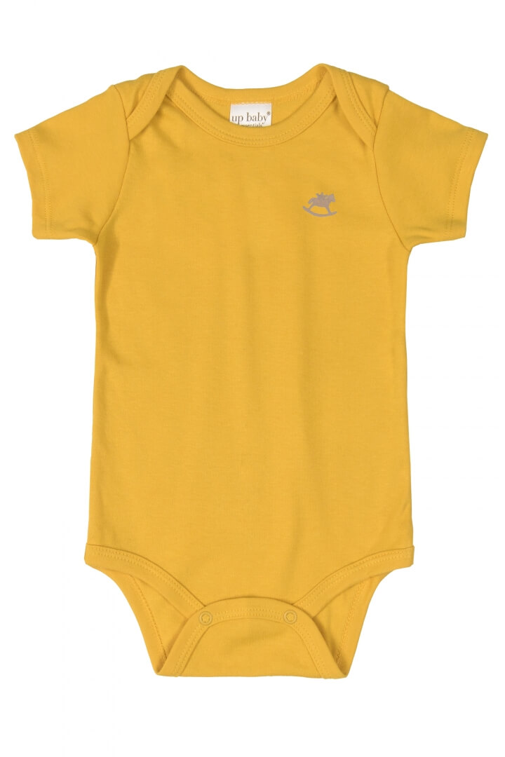 Body Manga Curta em Suedine Amarelo Mostrada - Up Baby