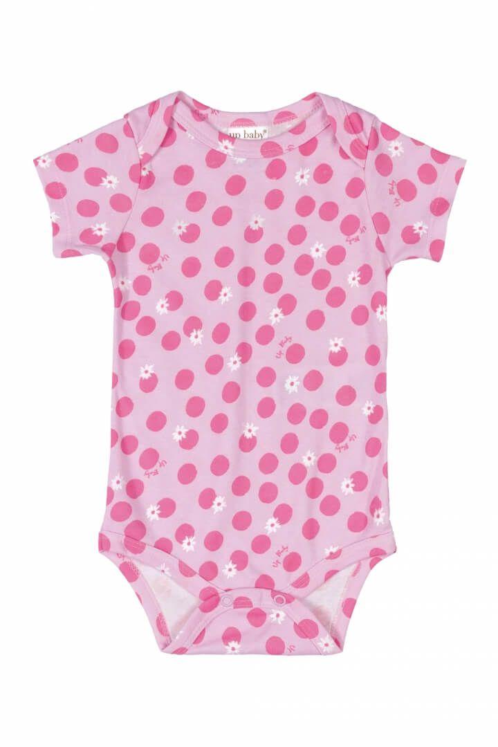 Body Manga Curta em Suedine Bolinhas Rosa - Up Baby