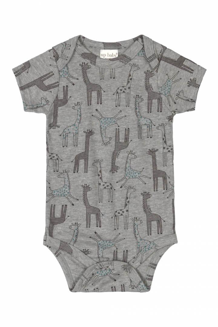 Body Manga Curta em Suedine Girafa Cinza - Up Baby