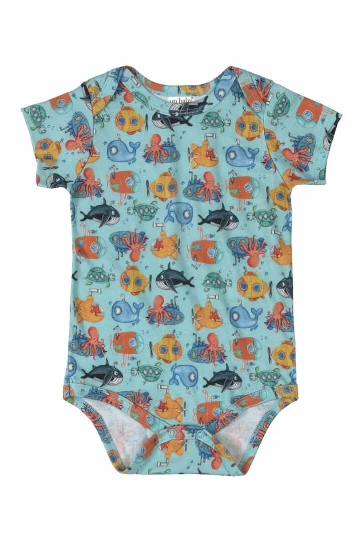Body Manga Curta em Suedine Mar Azul Claro - Up Baby