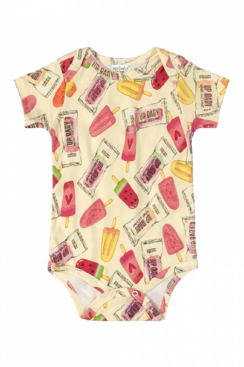 Body Manga Curta em Suedine Picolé Amarelo - Up Baby