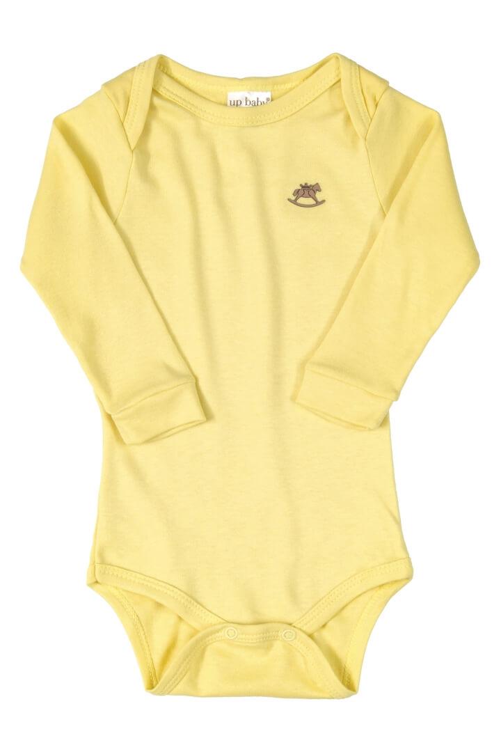 Body Manga Longa em Suedine Amarelo Claro - Up Baby