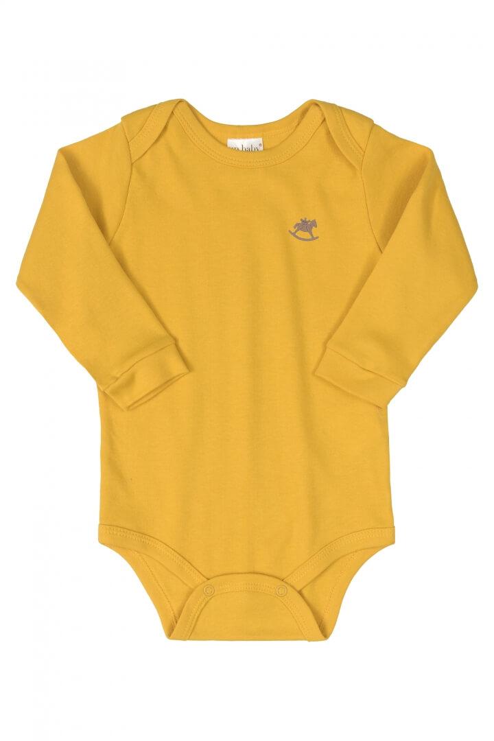 Body Manga Longa em Suedine Amarelo Mostarda - Up Baby