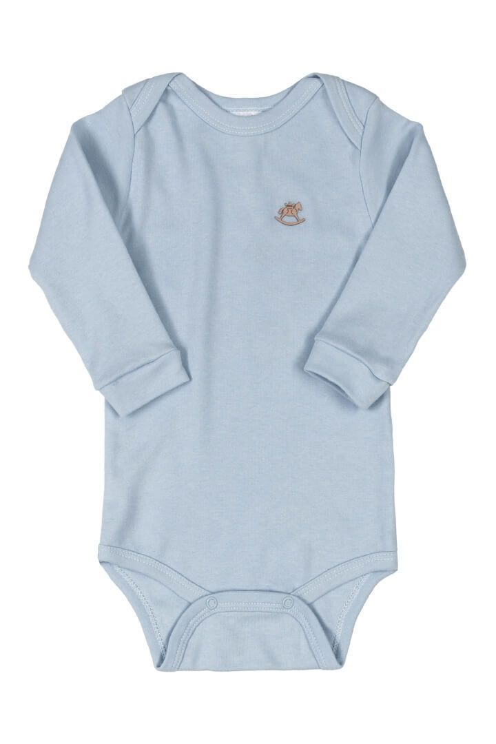Body Manga Longa em Suedine Azul Claro - Up Baby