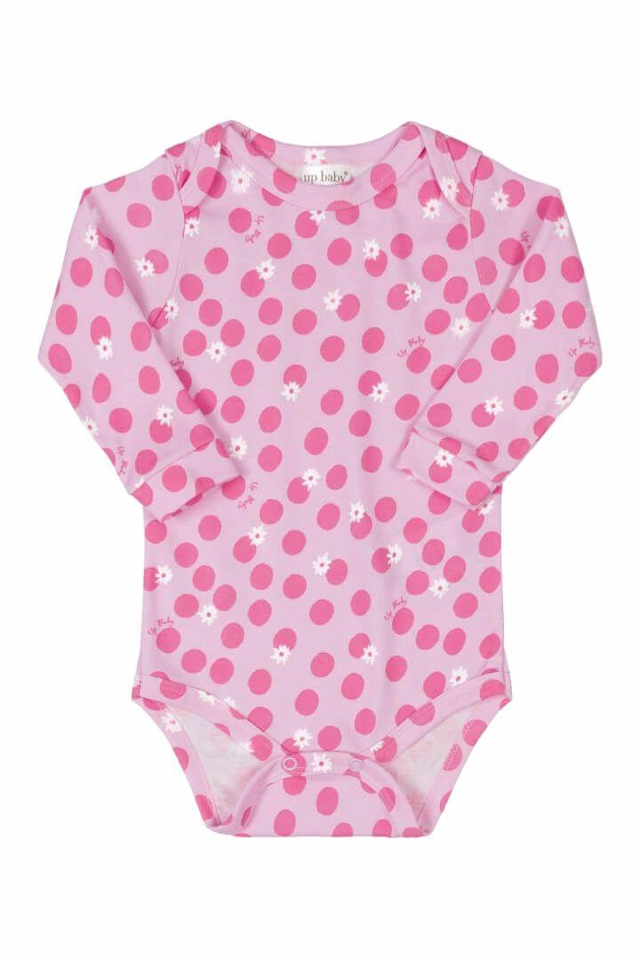 Body Manga Longa em Suedine Bolinhas Rosa - Up Baby