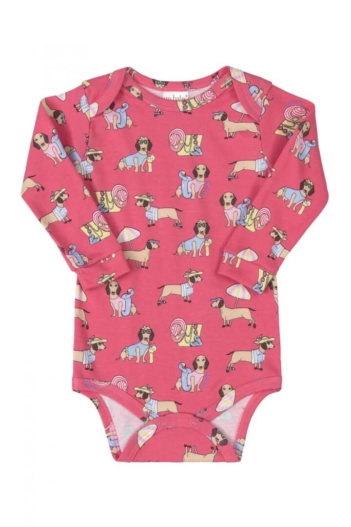 Body Manga Longa em Suedine Cachorrinhos Rosa Pink - Up Baby