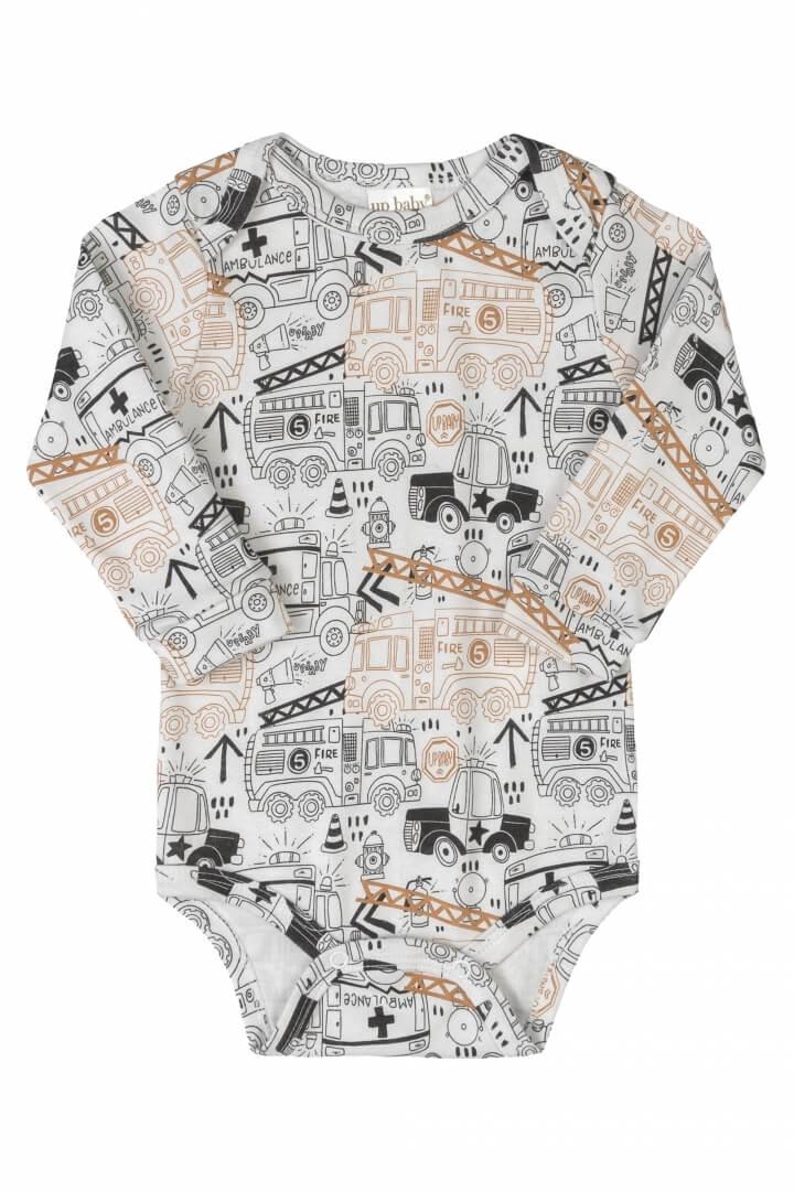 Body Manga Longa em Suedine Carros de Resgate Branco - Up Baby
