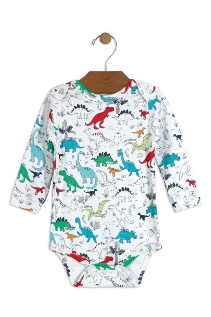 Body Manga Longa em Suedine Estampa Dinossauro - Up Baby