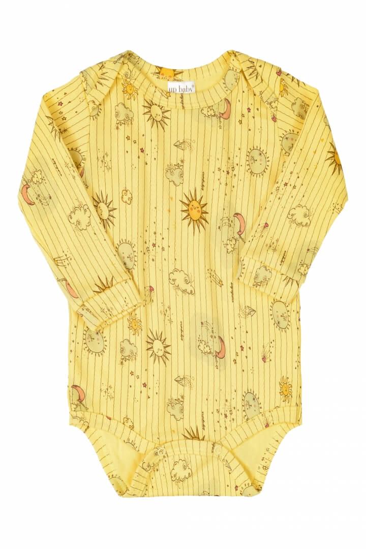 Body Manga Longa em Suedine Estrelar Amarelo - Up Baby