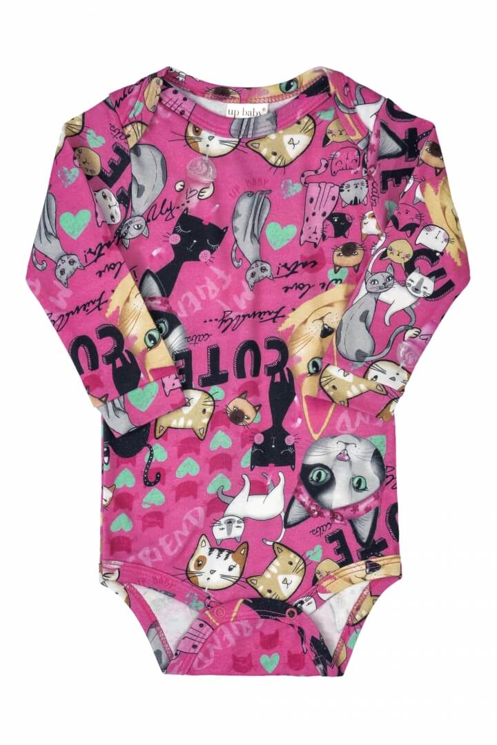 Body Manga Longa em Suedine Gatinhos Pink  - Up Baby