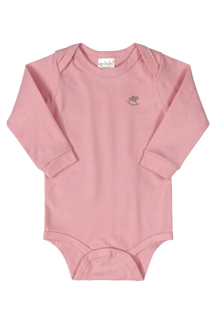 Body Manga Longa em Suedine Rosa Médio - Up Baby