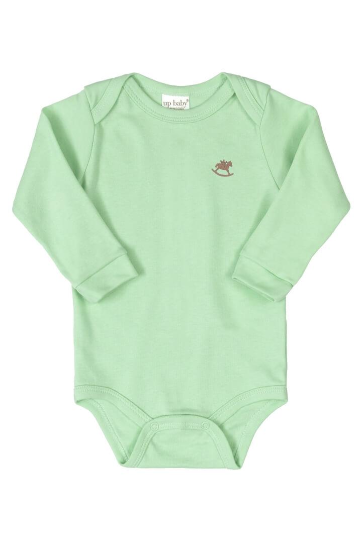 Body Manga Longa em Suedine Verde Água - Up Baby