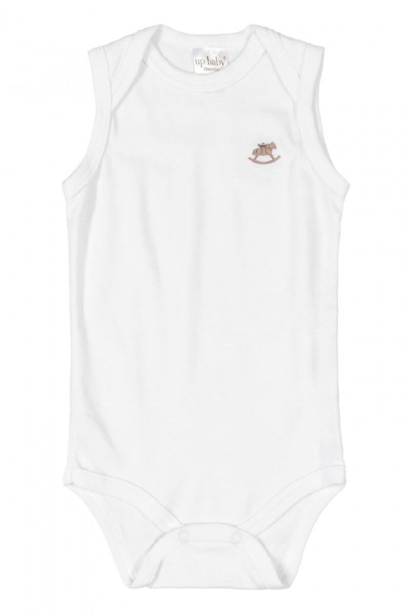 Body Regata em Suedine Branco - Up Baby