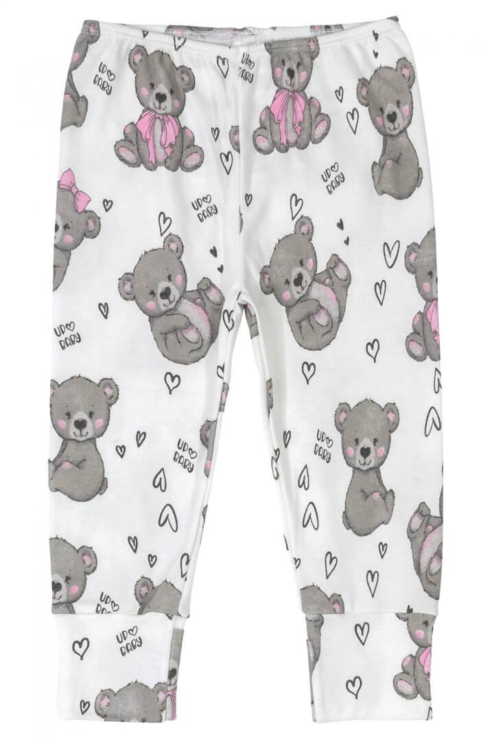 Calça em Suedine Ursos Branca - Up Baby